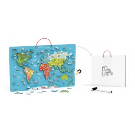 Magnetic World Puzzle w/ Dry Erase Board