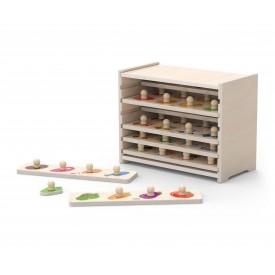 Flat Puzzle - 12pcs Set w/ Storage Shelf