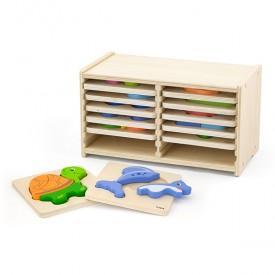 Block Puzzle - 12pcs Set w/Storage Shelf