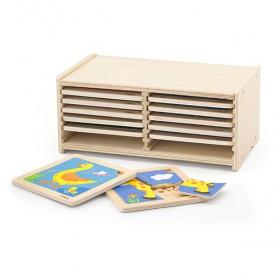 Block Puzzle - 12pcs Set w/ Storage Shelf