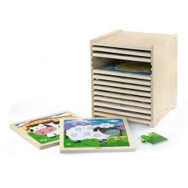 9 Piece Puzzle - 12pcs Set w/ Storage Shelf