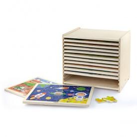 24 Piece Puzzle - 12pcs Set w/ Storage Shelf