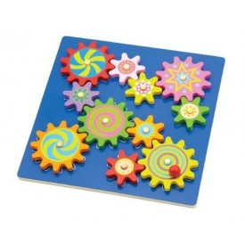 Blue Spinning Cogs and Gears Puzzle